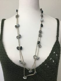 covered button necklace blues